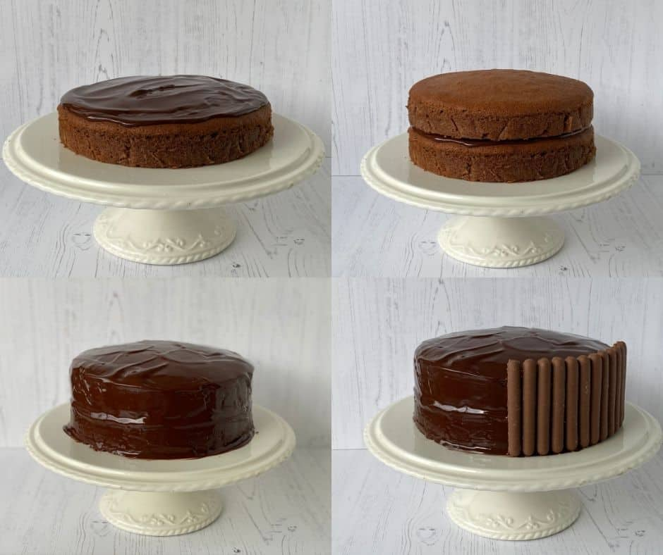 Step by step instructions for filling and topping a chocolate cake.