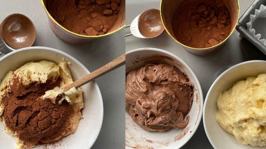 Bowls of chocolate and Vanilla Cake batter.