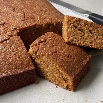 Close up of gingerbread squares
