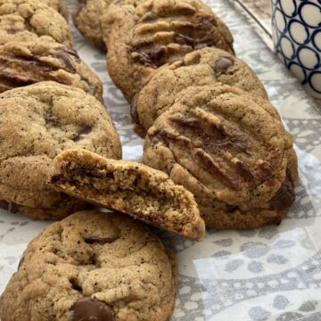 Close up of mocha chocolate chip cookies