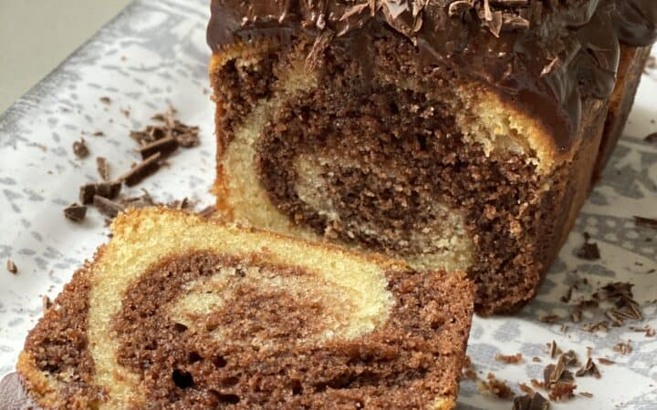 Chocolate marble Cake with a slice cut out