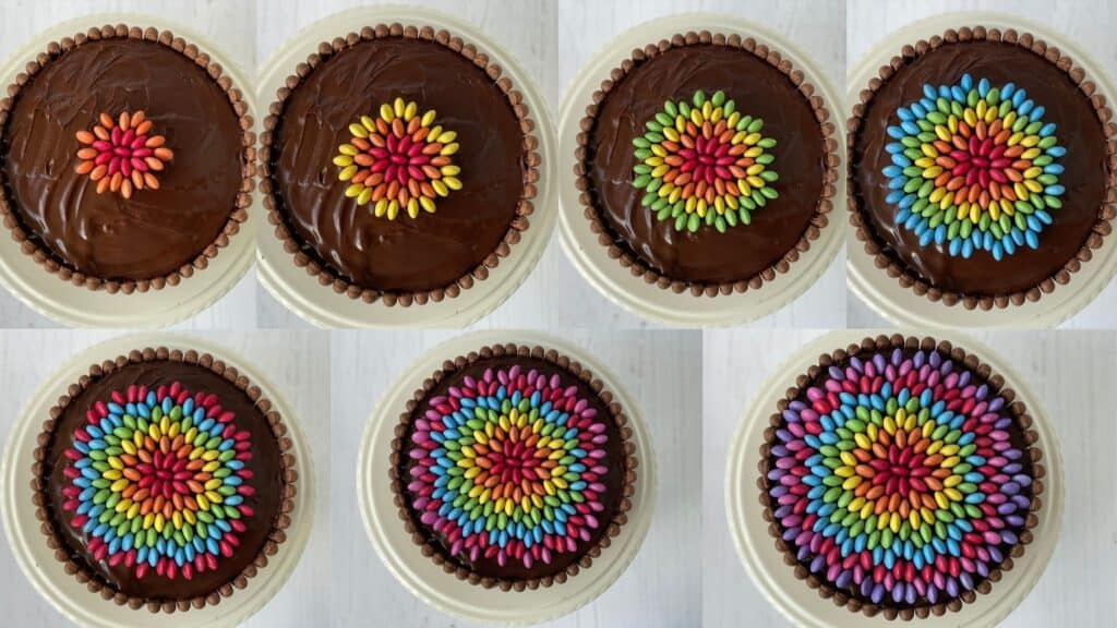 Step by step images of how to decorate the top of a smarties cake