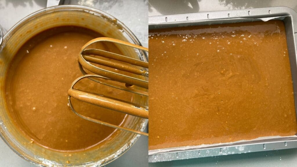 Collage of Gingerbread Cake batter in a bowl and baking tin
