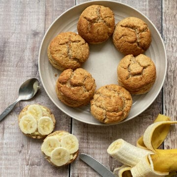 Plate of scones with slices of banana