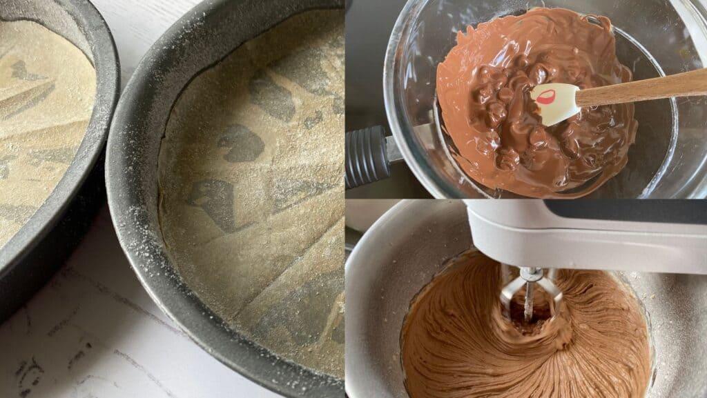Lining a cake tin, melting chocolate