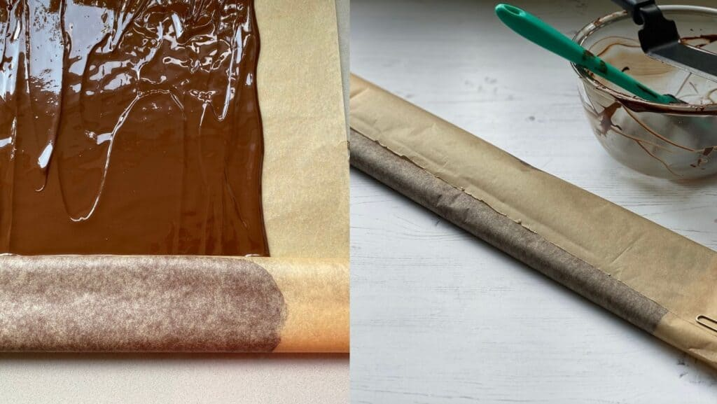 Rolling up melted chocolate in baking parchment.