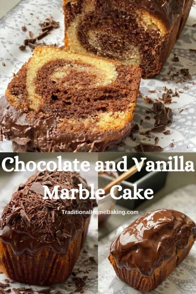 Chocolate and Vanilla Marble Cake with a slice cut out