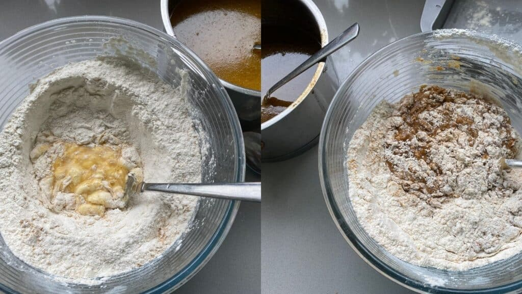 Mixing the dry and wet ingredients together