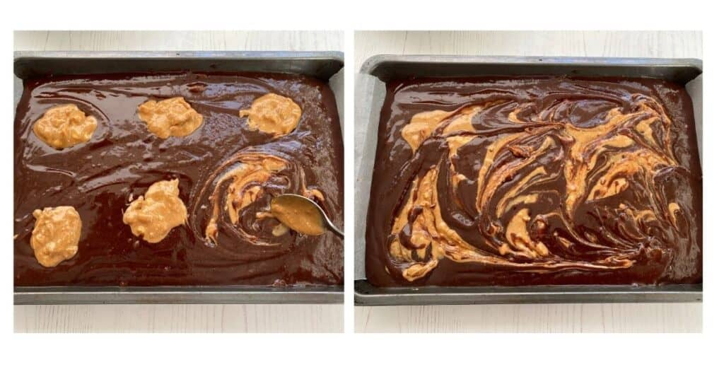 Swirling the Peanut Butter in the Brownie Mixture.