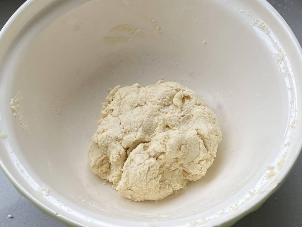 Scone dough in a White bowl