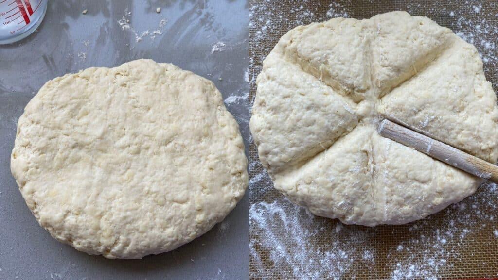 Scone dough on a counter top