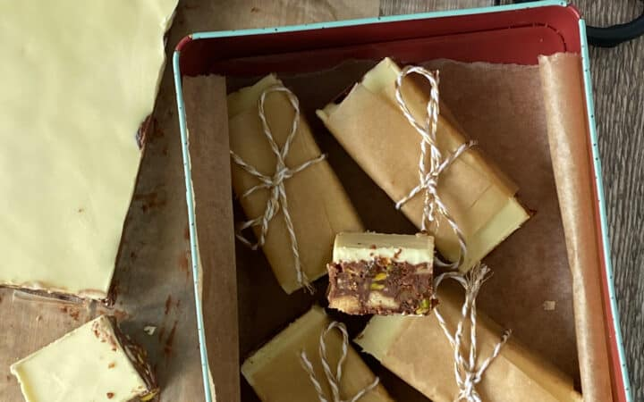 Tin containing Fruit and Nut chocolate bars
