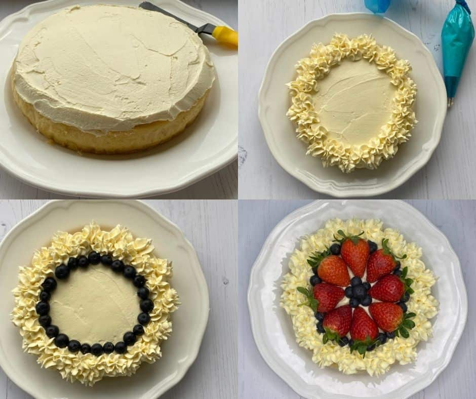 Collage of step by step instructions of decorating a summer berry cake.