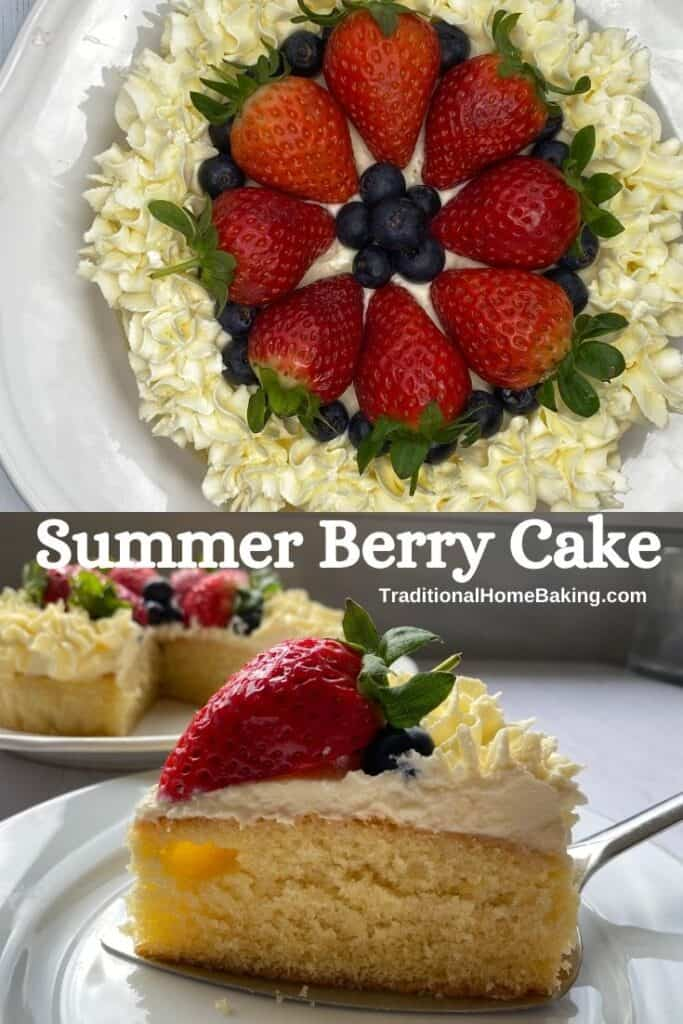 Summer Berry Cake with a slice cut out