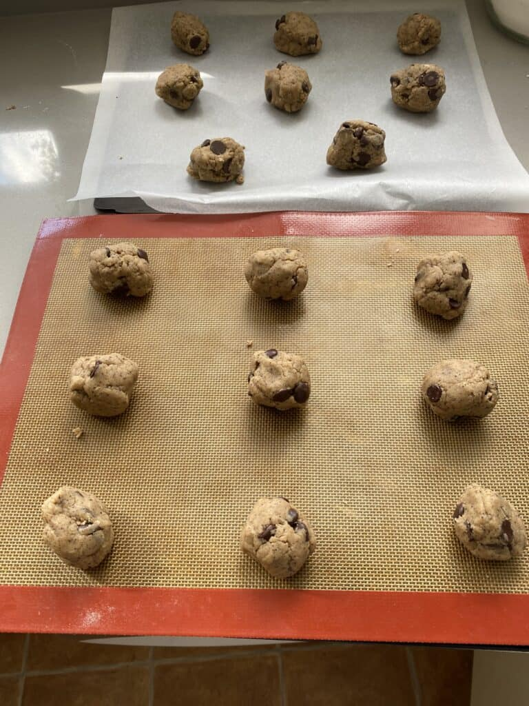 Place the cookie dough onto the baking sheets.
