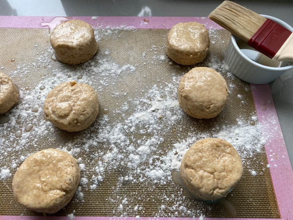 Unbaked Honey Scones on a baking tray
