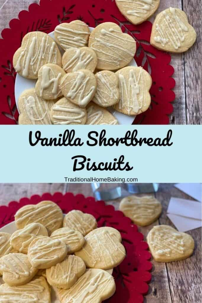 Pinterest image of shortbread with sign saying Vanilla Shortbread Biscuits