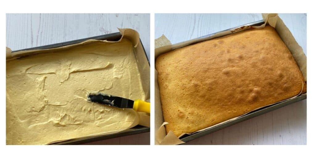 Tray Bake Cake batter in a baking tin